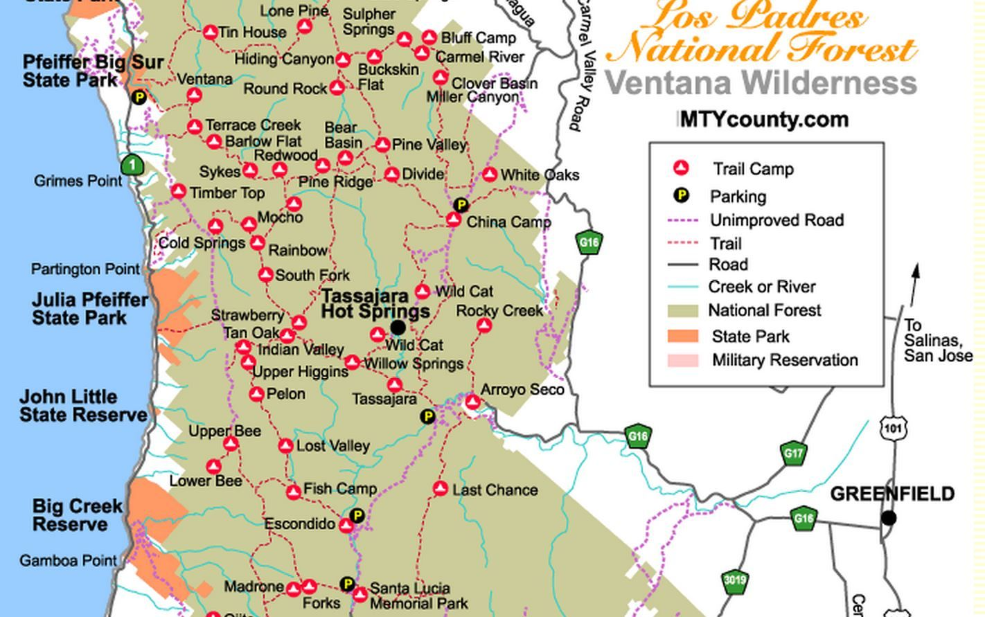 Pin by Greg Troxell on Monterey County   Los padres national forest California National Forest Map on