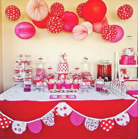 red and pink theme birthday party Google Search Hello Kitty