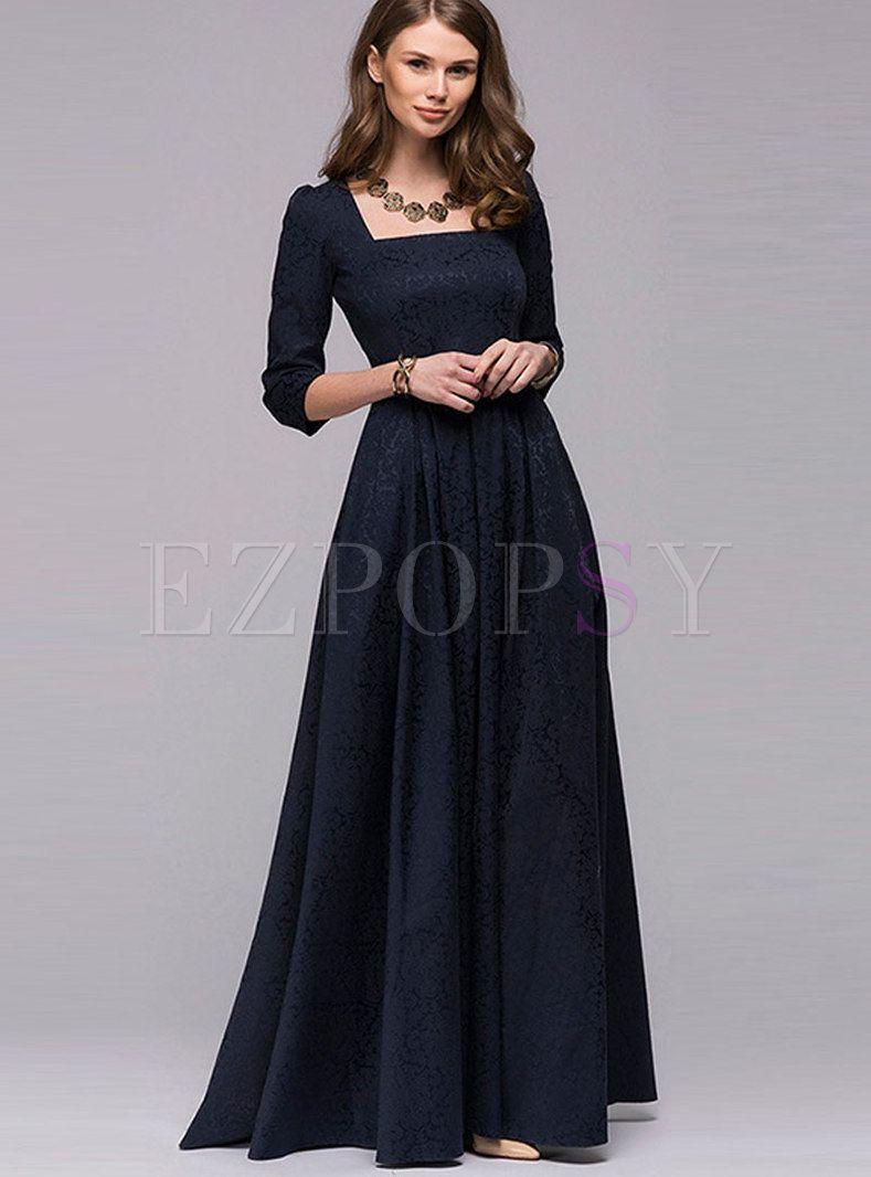 Party Square Neck Long Sleeve Big Hem Evening Dress Dresses Prom Dresses Long With Sleeves Evening Dresses [ 1066 x 789 Pixel ]