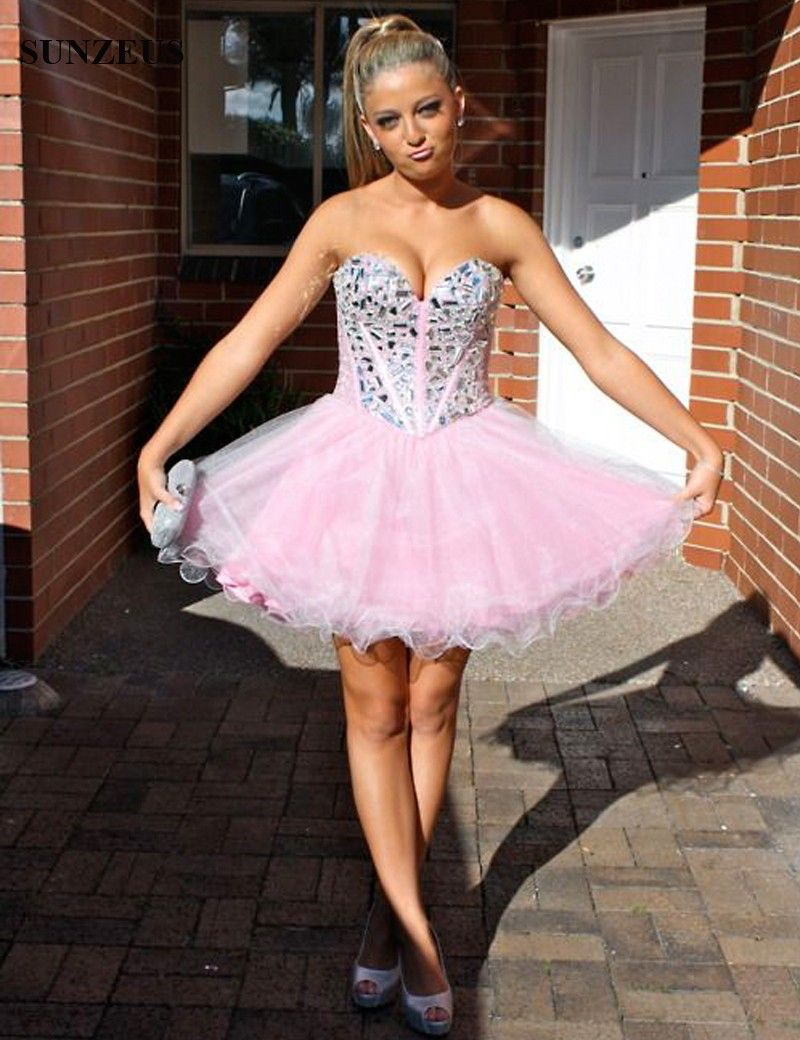 Sweetheart pink homecoming dresses off the shoulder glitter beaded