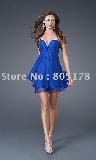 Short royal blue semi-formal dress with strapless sweetheart ...