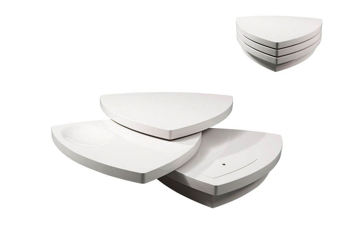 Modrest Perlite Modern White Tiered Coffee Table VGWCSE198A-WHT