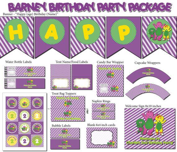 Barney Birthday Party Package Diy Custom By Magentaprintsdigital