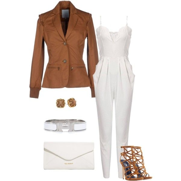 Camel&White by nightwisp on Polyvore featuring polyvore, fashion, style, Siviglia, Dsquared2, Vera Bradley, Hermès, Vince Camuto, white and camel