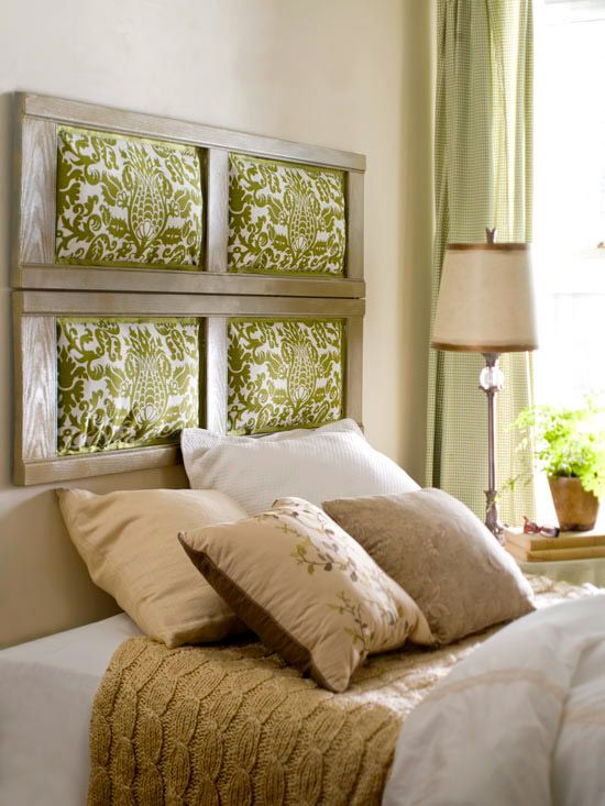 clever idea for a headboard.  Shutters with fabric inserts