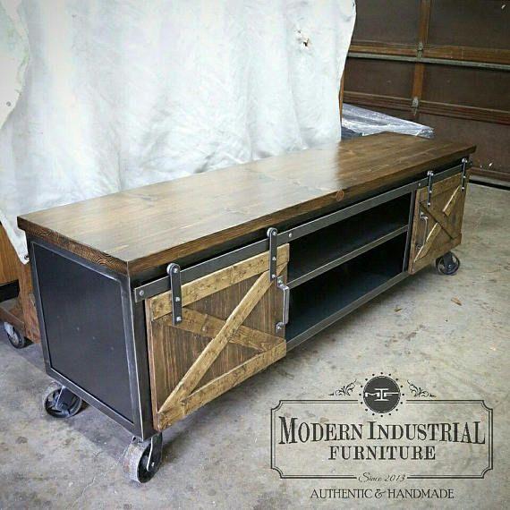 Barn Door Cabinet TV Stand Console Metal Vintage Industrial Modern ...