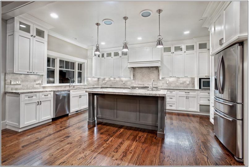 Kitchen Splendid Cool Winsome White Kitchen Dark Floors Exquisite