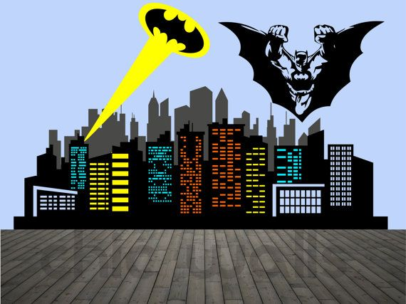 Premium Custom Made Batman Gotham City Escape Skyline Buildings Lights  Removable Wall Decor Decal Sticker Logo Part 65
