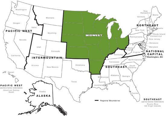 NPS Regional Map With Midwest Region Highlighted Midwest - Midwest region map
