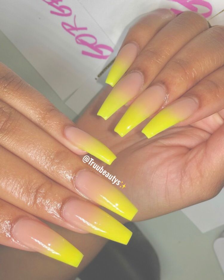 Yellow Ombre Nails Coffin Matte