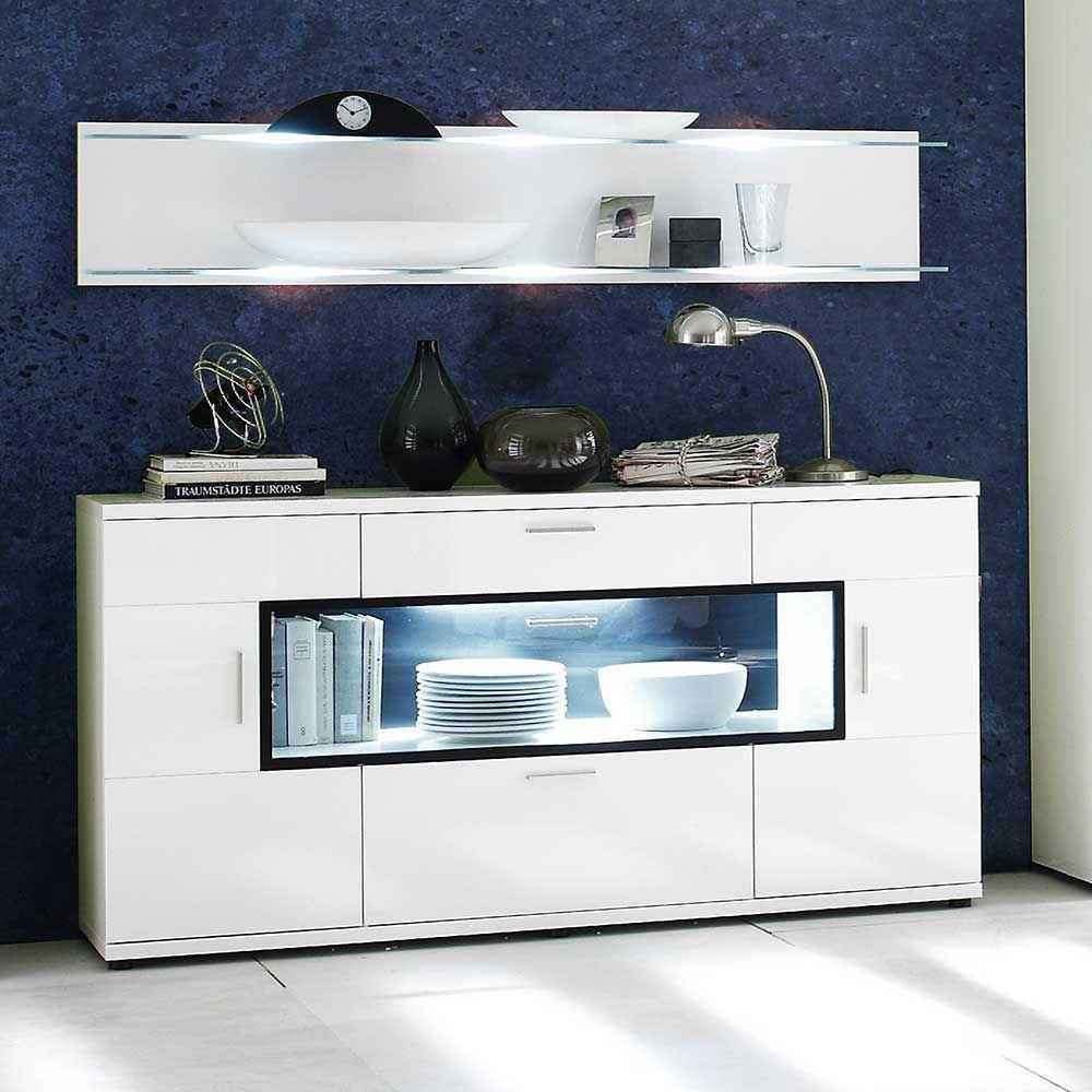 Sideboard mit Glasklappe Weiß Hochglanz sideboard,wohnzimmerschrank ...