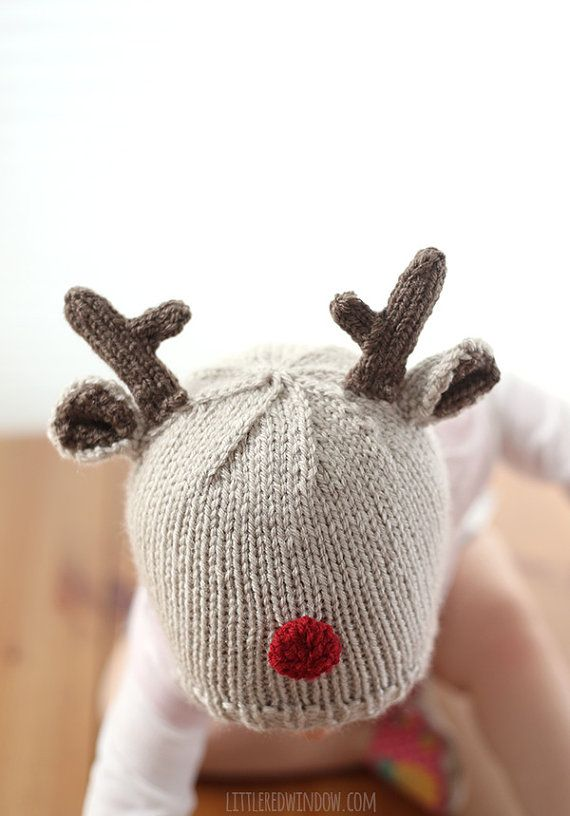 Reindeer Hat KNITTING PATTERN - Christmas reindeer knit hat pattern ...