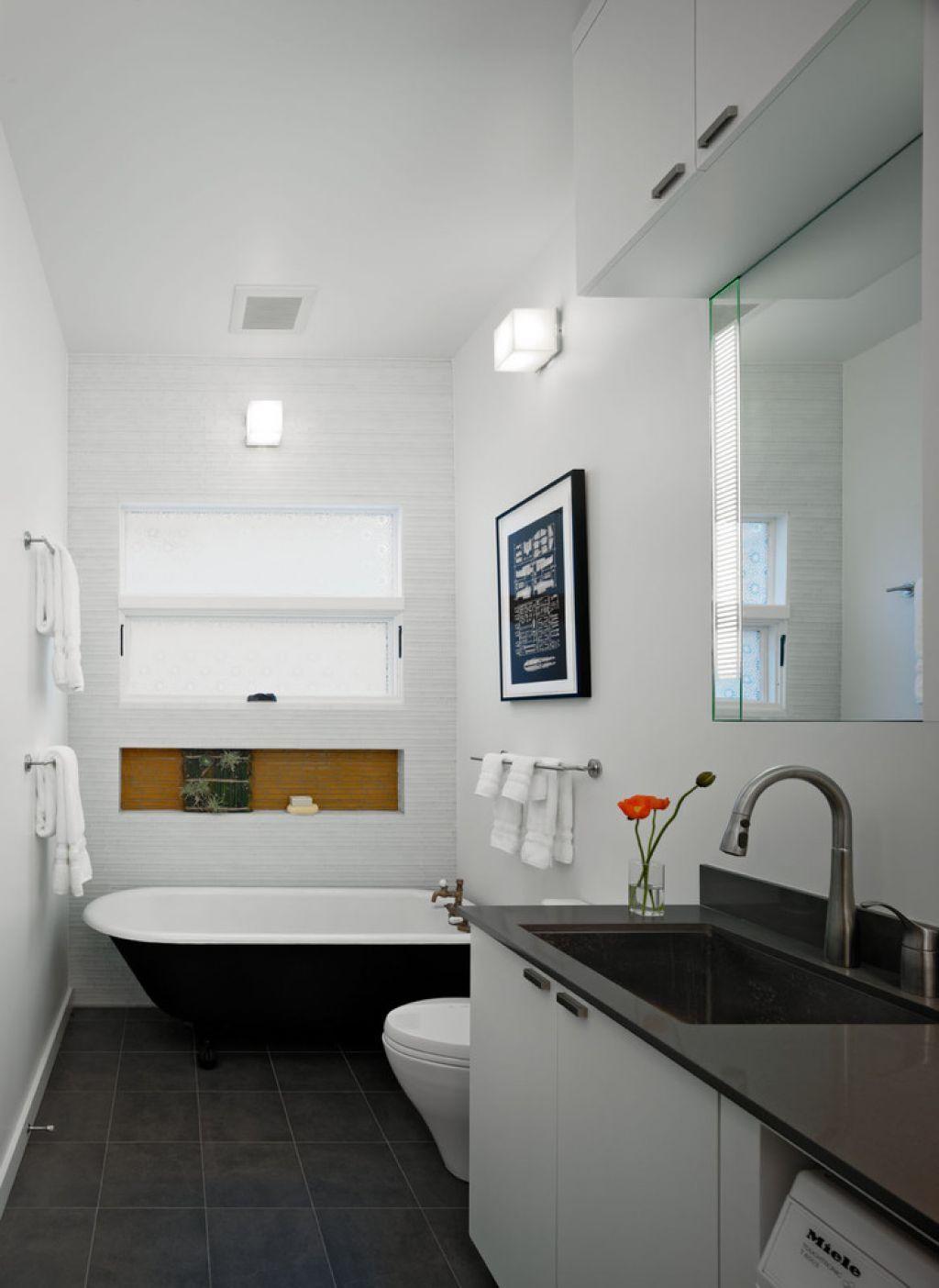 Small Narrow Bathroom With Black Clawfoot Tub Small narrow