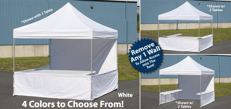 10x10 Booth w/ Three Folding Tables & 10 x 10 Outdoor Canopy Tent with 3 Folding Tables Pop Up Square ...