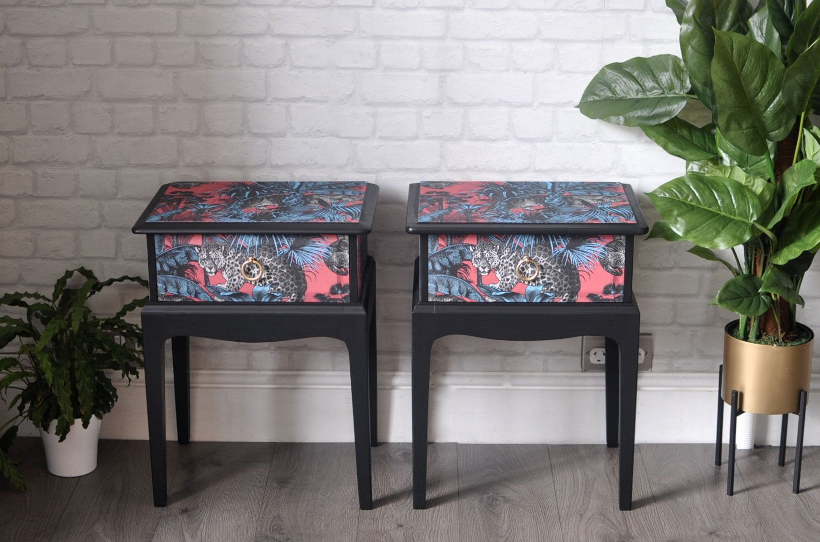 Pair Of Upcycled Vintage Stag Wooden Bedside Tables Retro Bedside