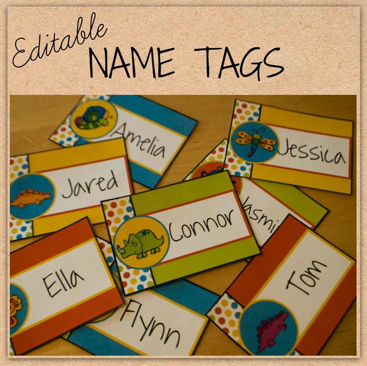 Preschool Classroom Name Ideas ~ Name tags customizable editable substitute teacher