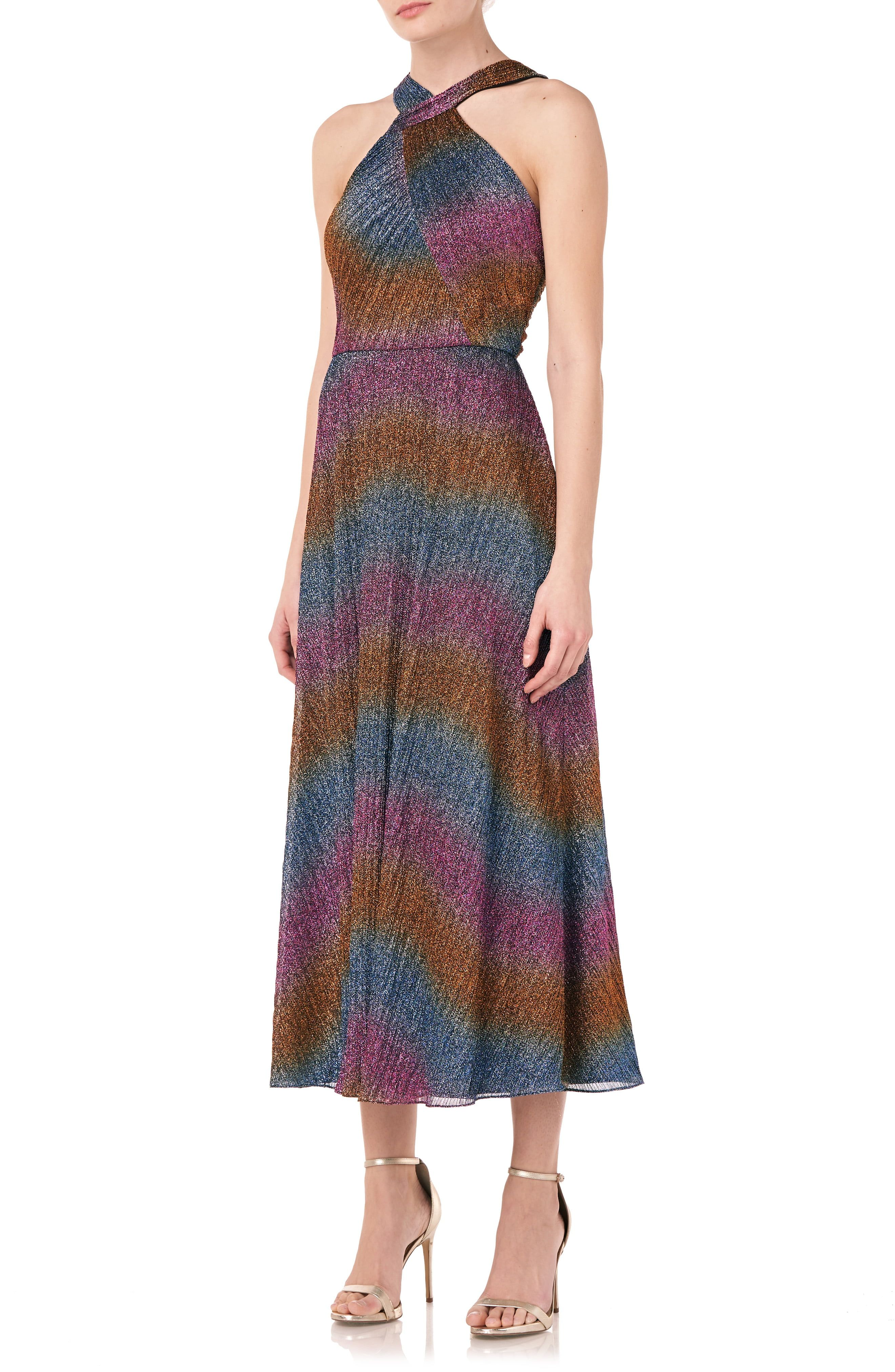 Dance right into the disco of your dreams in this shimmer-drenched striped dress with a retro feel thanks to a halter top and a skirt begging to be twirled. Style Name:Ml Monique Lhuillier Rainbow Shine Halter Dress. Style Number: 6108277. Available in stores.