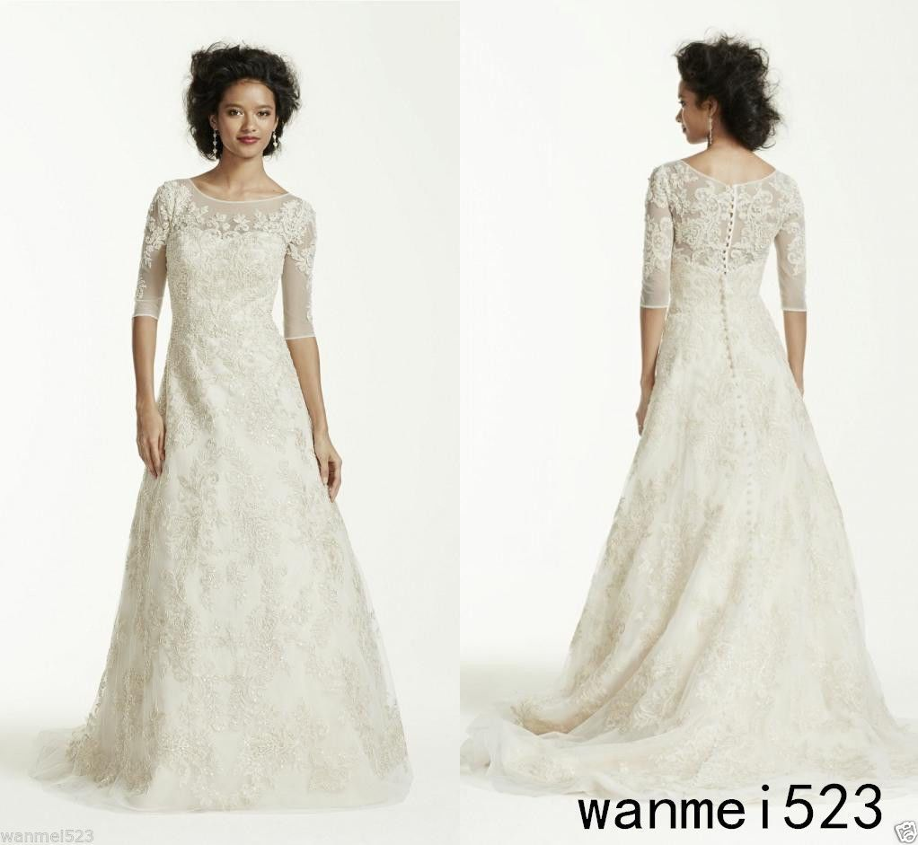 Size 20 a line wedding dress  Awesome  Vintage Modest ALine Lace Wedding Dress Bridal Gown
