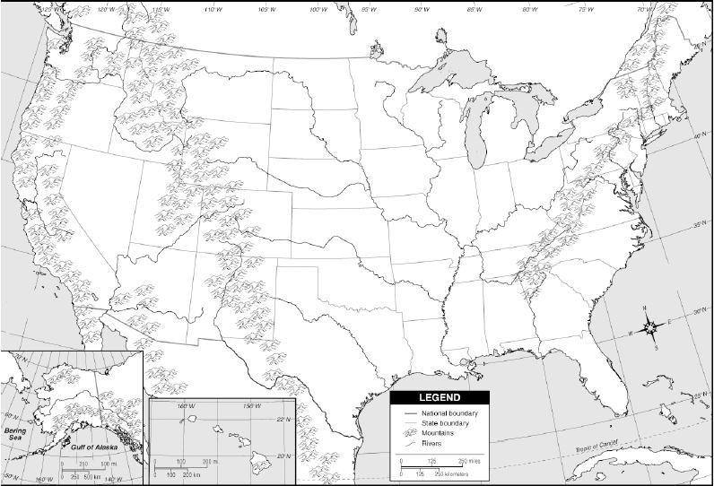 blank+US+physical+map.jpg | Year 9 Geography | Pinterest | Geography ...