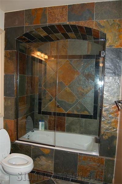 Multicolor slate bathroom design bathroom ideas for Slate bathroom design
