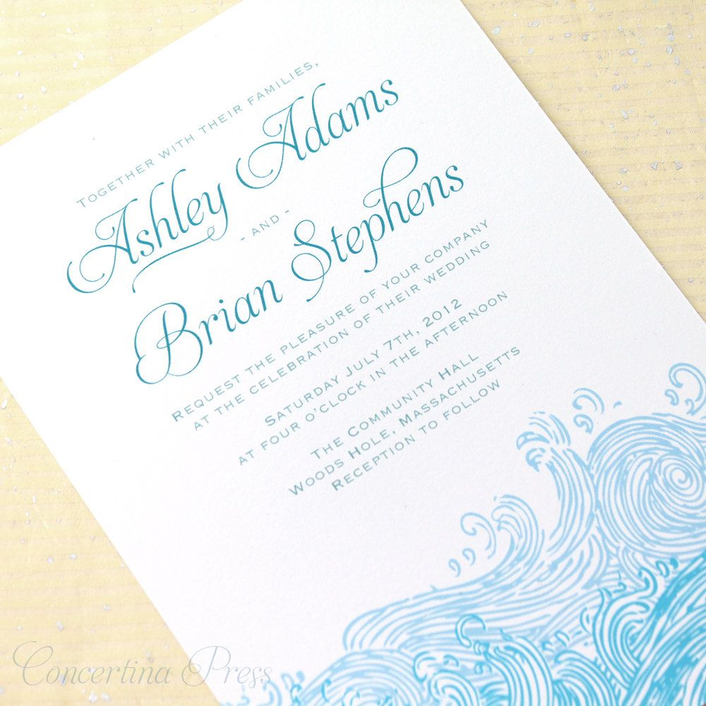 Waves Wedding Invitations For Your Beach Wedding Beach Wedding