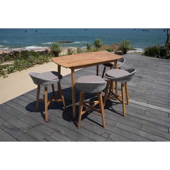 Ensemble de bar 1 table + 4 chaises en acacia FSC - Achat / Vente ...