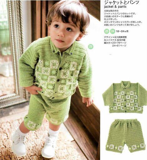 Krupp & Bauer Häkel und Strickmoden /Accessoires: Casaco, Blusa, camiseta, shorts, conjuntos,pullover para meninos em croche