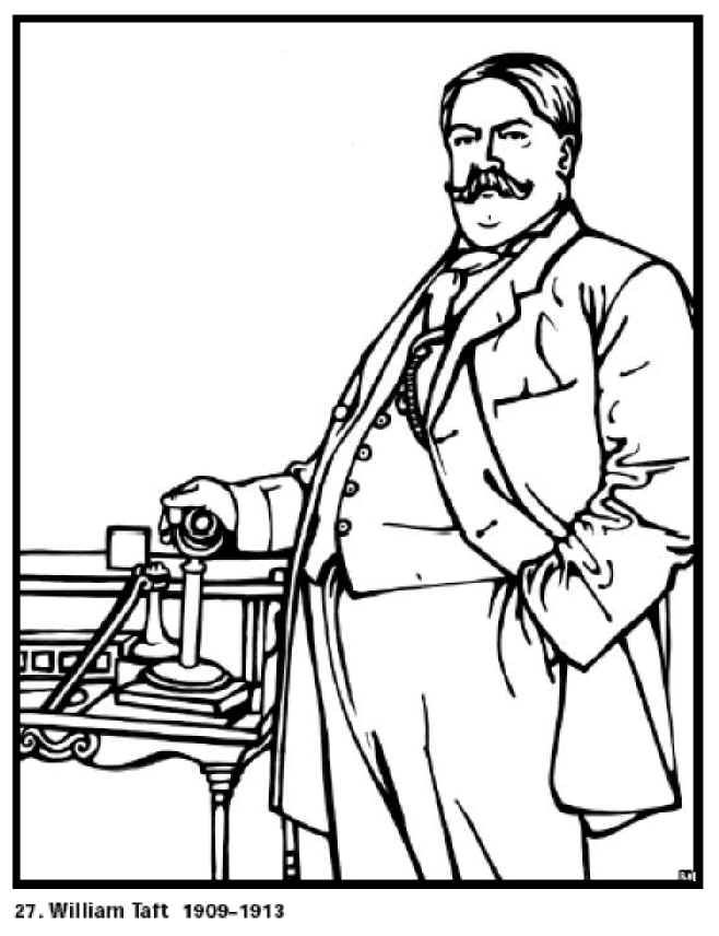 William H Taft 27th President Of The United States Free Printable Coloring Sheet