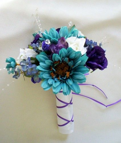 Teal And Purple Silk Flowers Bouquet
