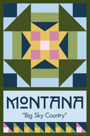 Olde America Antiques | Quilt Blocks | National Parks | Bozeman Montana : 50 STATE QUILT BLOCK SERIES - MONTANA - version 2