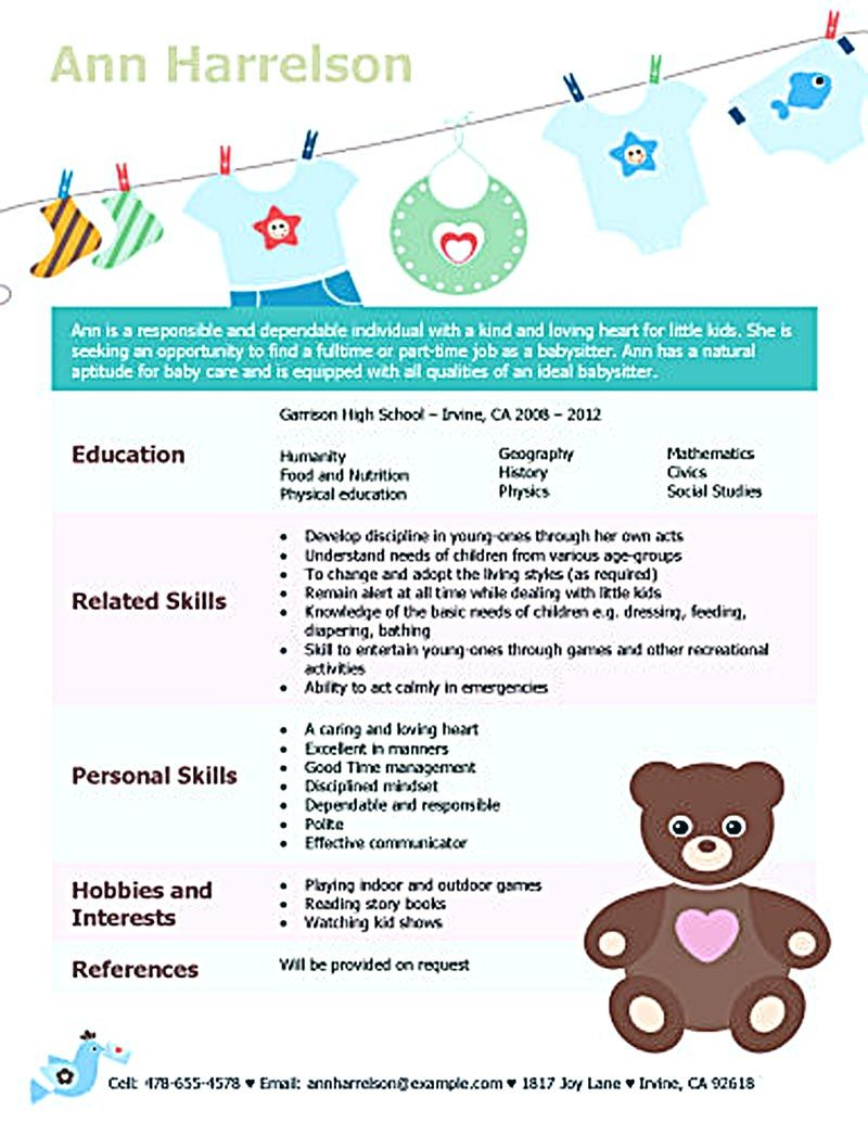 baby sitter cv example