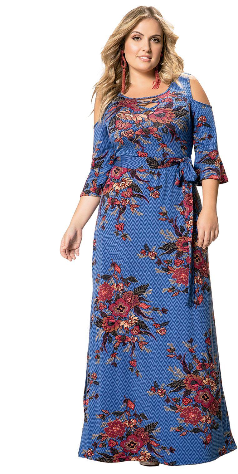 4a198a41d Vestido Longo em Viscose Stretch Azul Floral Wee! Plus Size. #modaplussize  #roupasplussize #roupasfemininas #modafeminina #plussize #beline