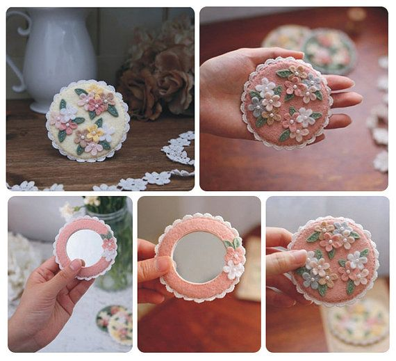 Handmade Non-woven Flower Pattern Mirror Compact Mirror Mini Mirror Pink/Yellow Available Made to Order on Etsy, $9.00
