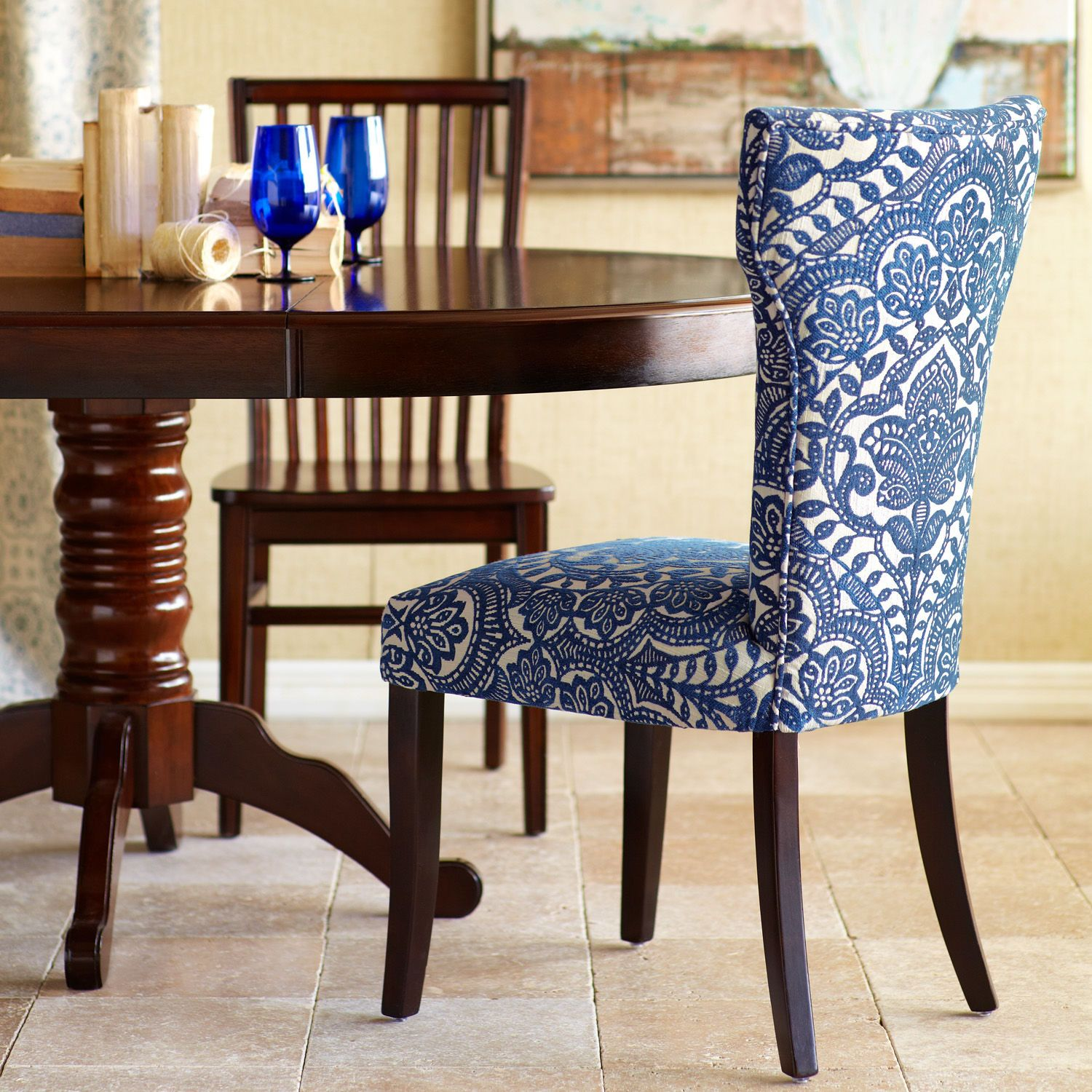 Damask Dining Chair Carmilla Blue Damask Dining Chair With Espresso Wood Pier 1
