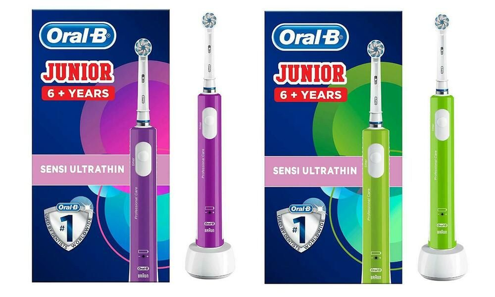 Rechargeable Electric Toothbrush Oral B For Children Aged 6 Purple Or Green Oralb Oral B Brushing Teeth Oral