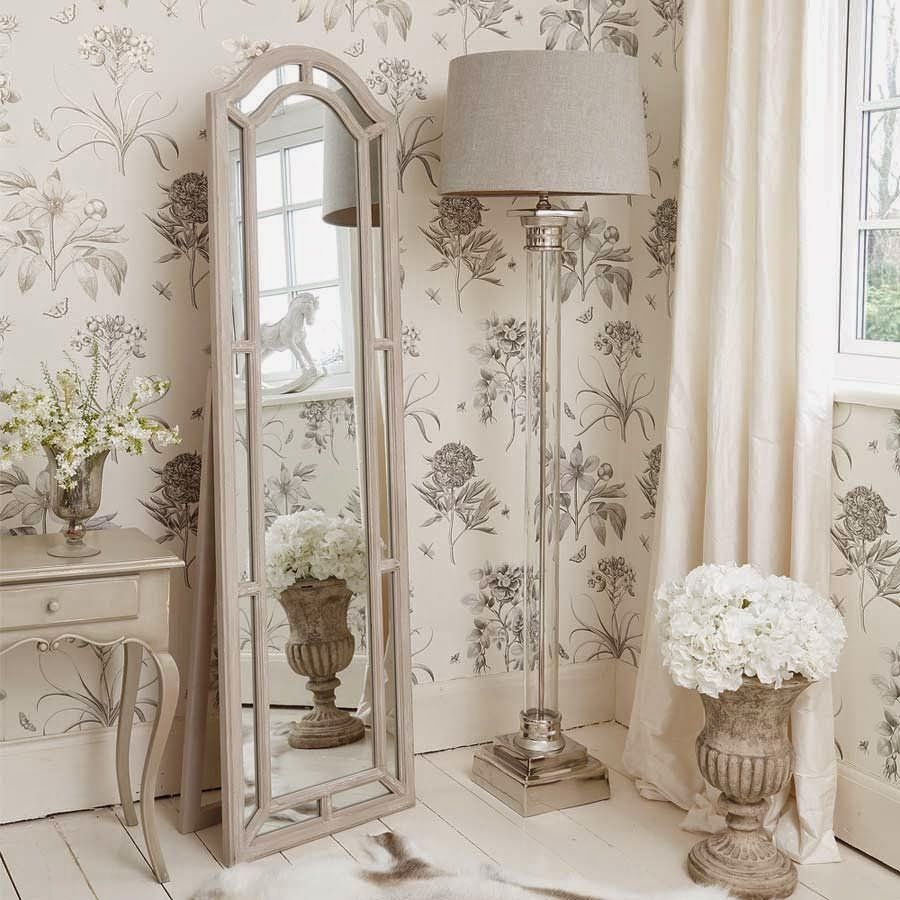 Furniture, Corner Shabby Chic Floor Lamp With Glass Stand