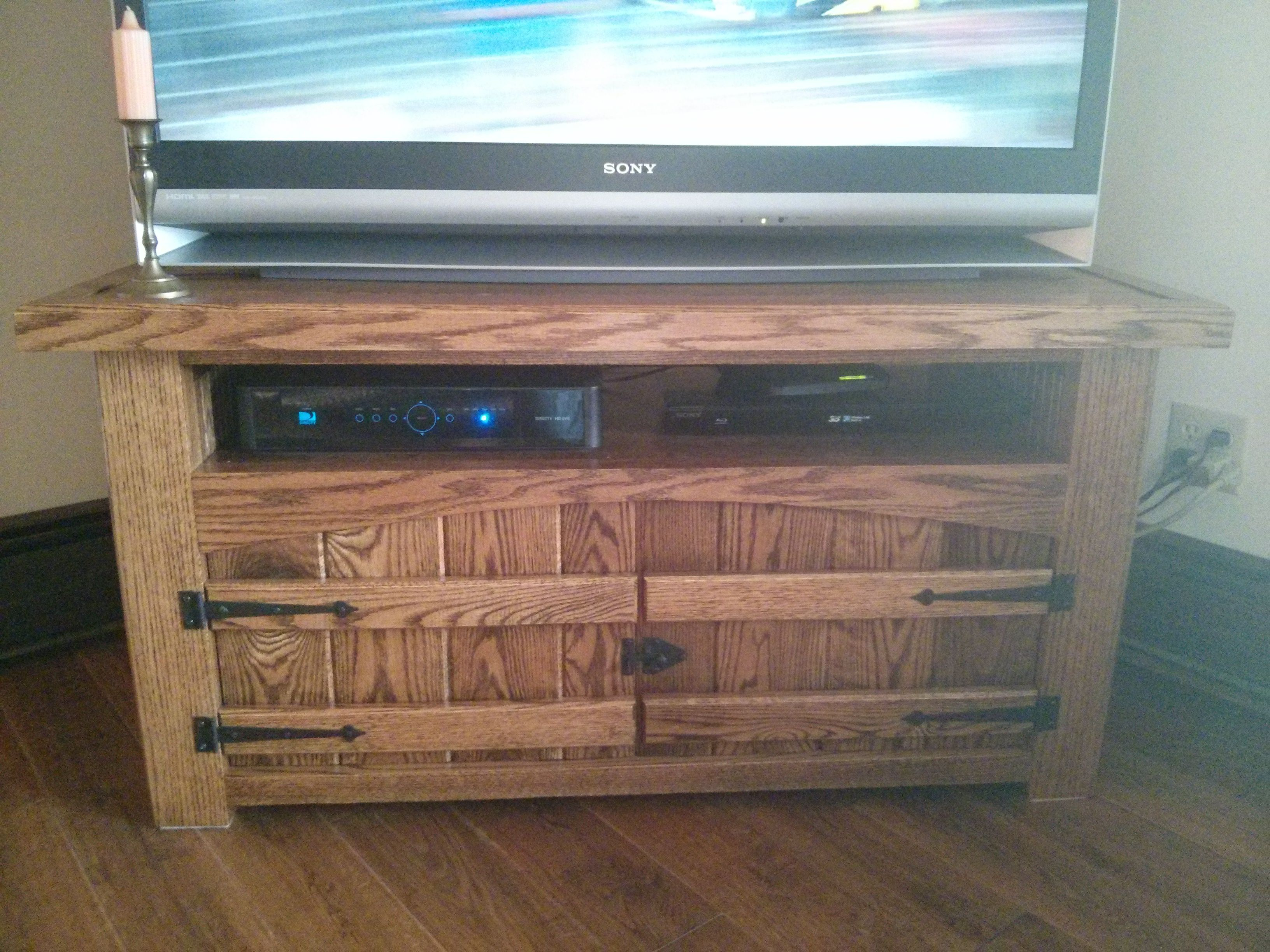 Custom red oak entertainment center made with solid