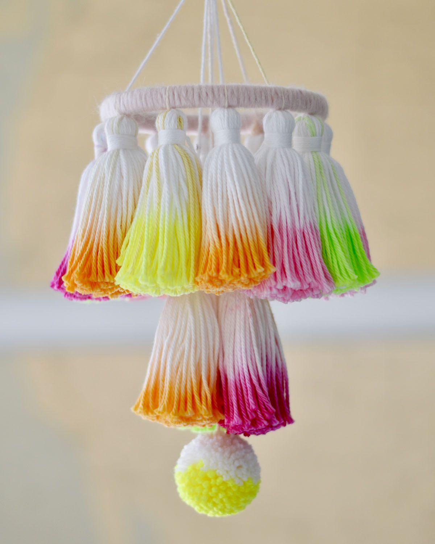 Diy Dip Dye Tassel Mini Chandelier With Fancy Flamingo Design Yarn Chandelier Diy Tassel Pom Pom Decorations