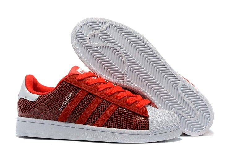 Adidas Originals superstar 2016 Casual Red leather Snake ...