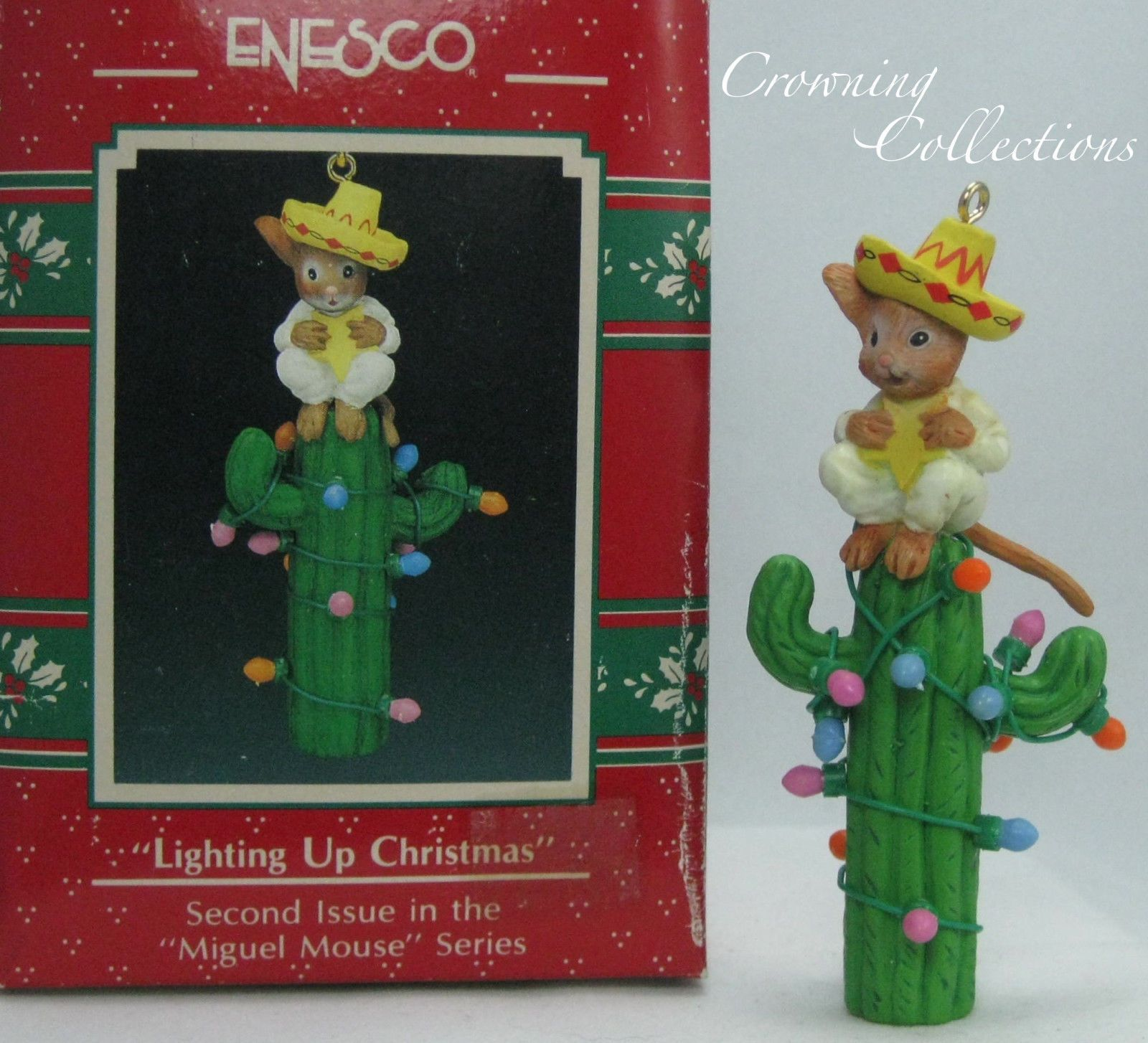 enesco lighting up christmas ornament miguel mouse cactus feliz navidad treasury ebay