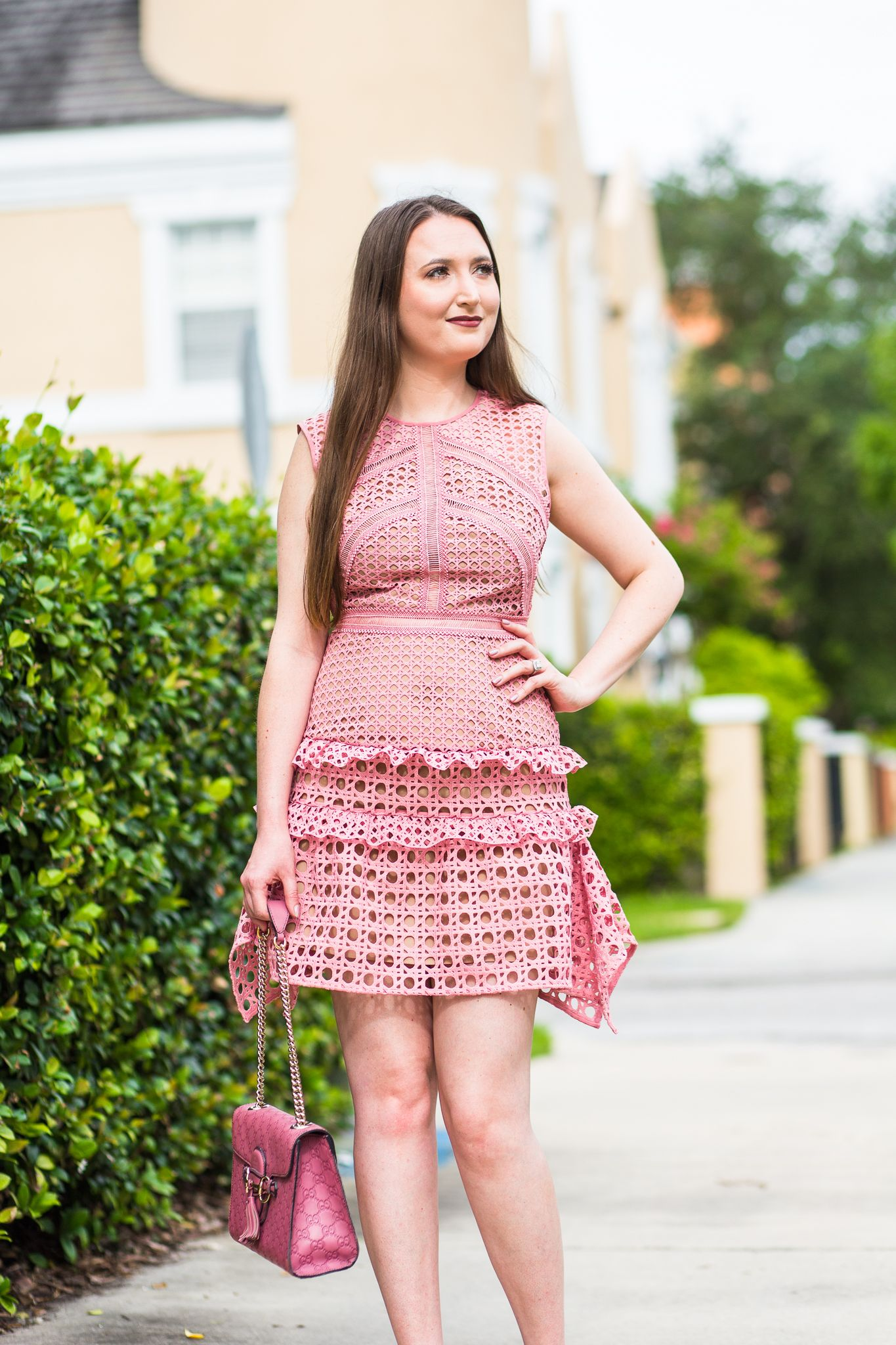 d347c6fcc0b Glamour dress and heels self portrait crosshatch Frill Mini Dress