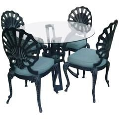 Five Piece Brown Jordan Grotto Shell Back Metal Dining Table Chairs