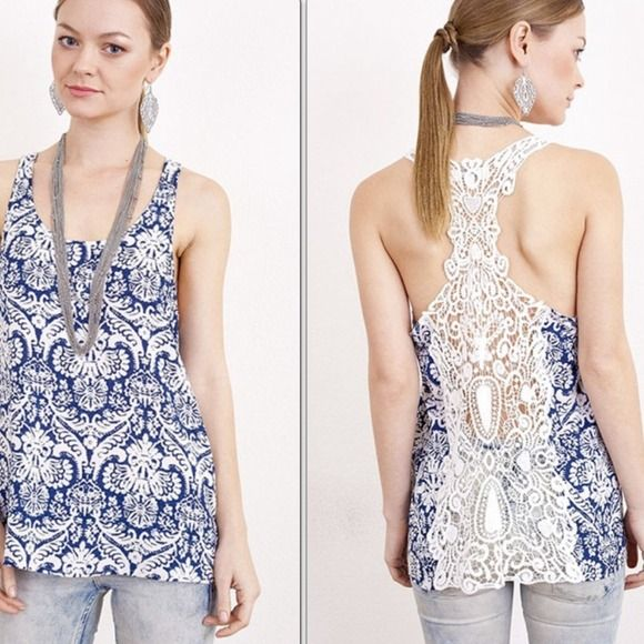 Host Pick Printed Top Printed top with crochet back.  Lowest prices are listed upfront. Tops