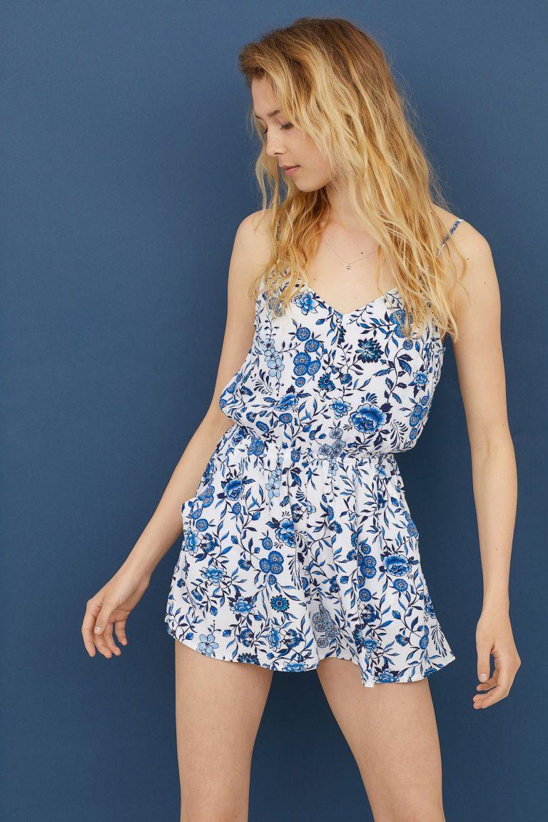 8312971ff2 Short Jumpsuit - White blue floral - Ladies