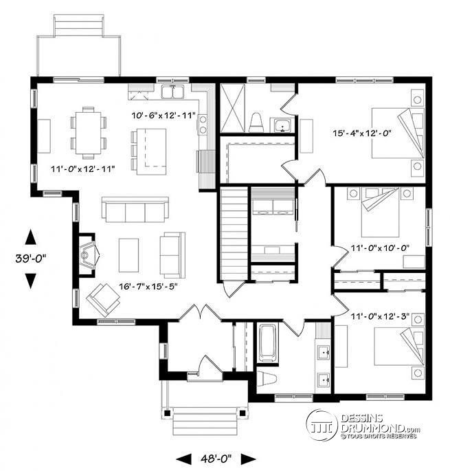 W3284-CJ - Maison 3 chambres, champêtre rustique, chambre des