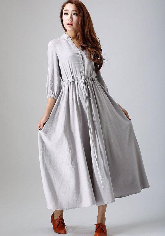Grey shirt dress women linen midi dress with three от xiaolizi