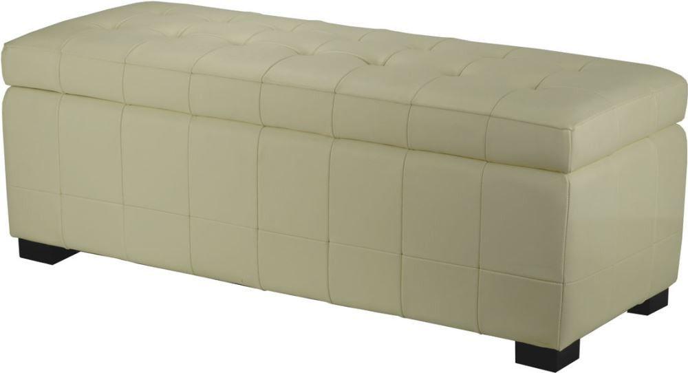 Safavieh Manhattan Large Off White Storage Bench Black / White Leather