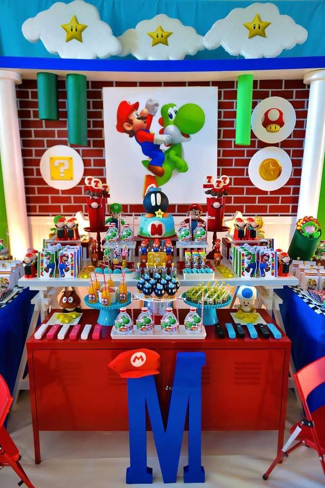 Super Mario Bros Birthday Party Ideas Photo 43 Of 53 Decoracion De Mario Bros Fiesta De Mario Bros Fiesta Infantil Tematica