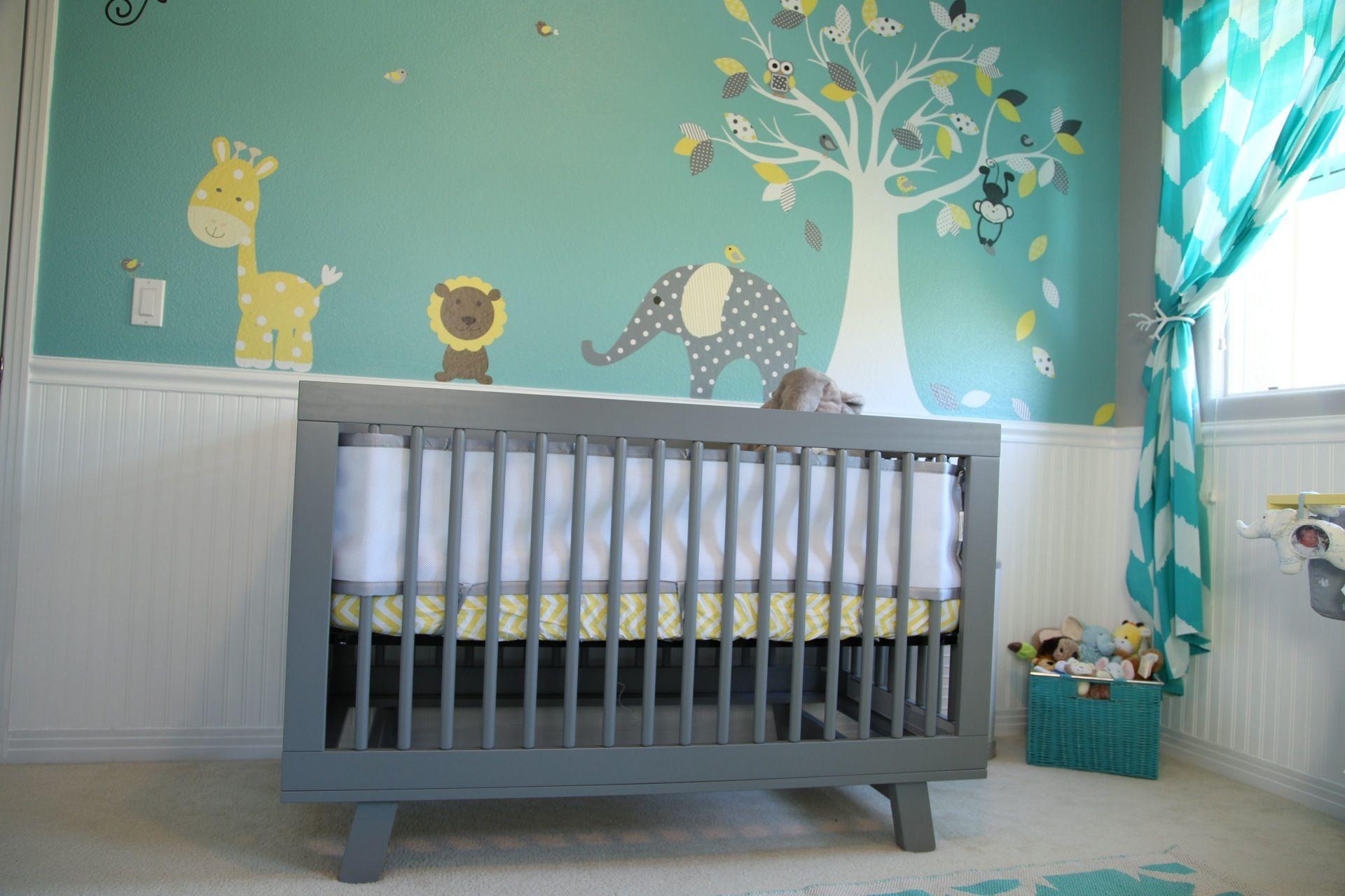 Baby Room Nursery Teal Yellow Grey