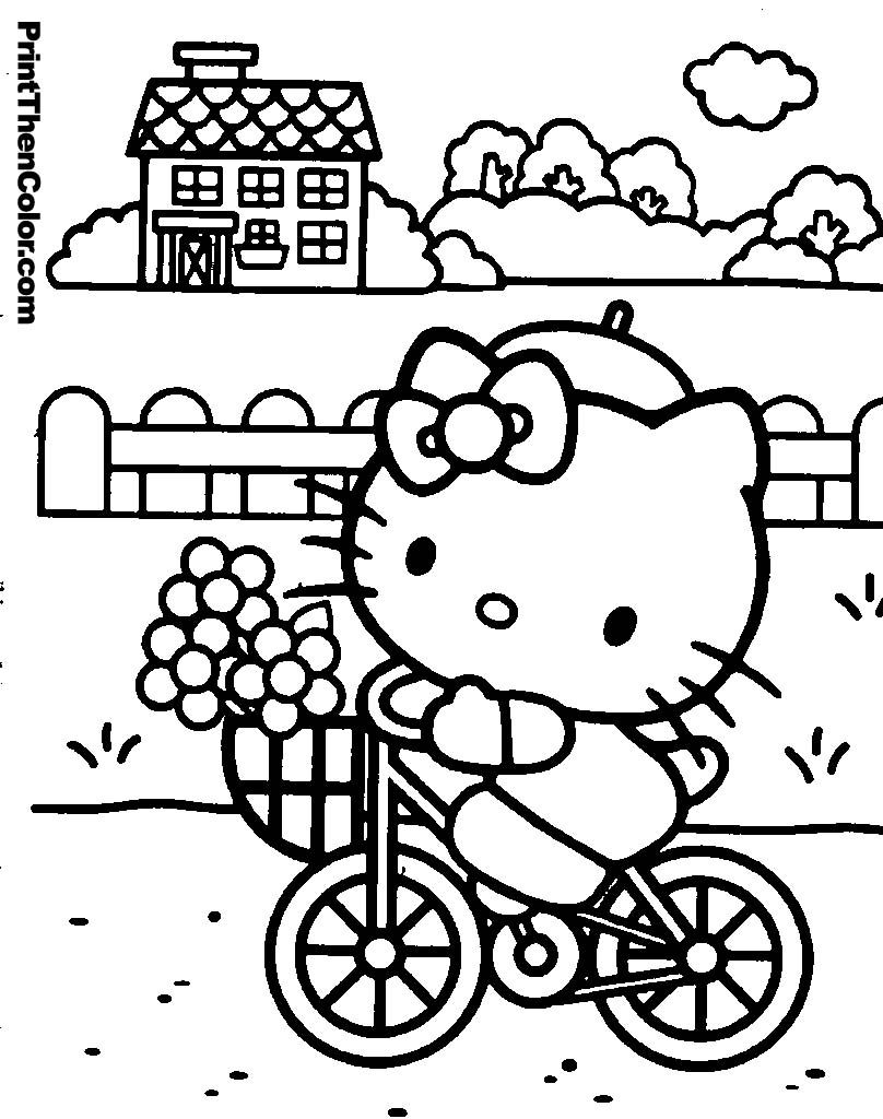 Hello kitty coloring book pages to print - Coloring Pages Of Hello Kitty Riding A Bike With A Basket Of Flowers In The Front